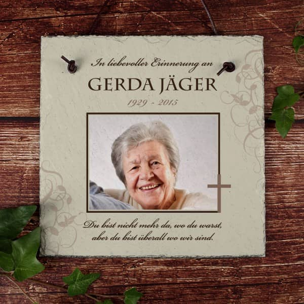 Schieferplatte Trauer Gedenken mit Foto und Name