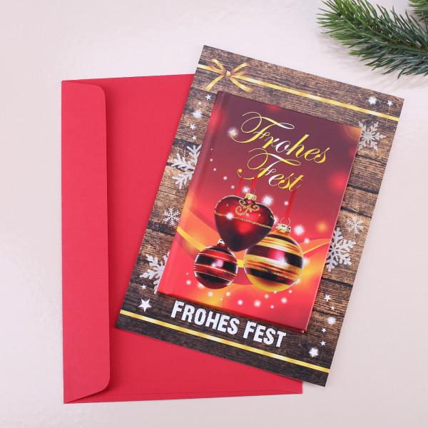Weihnachtskarte mit Buch Frohes Fest