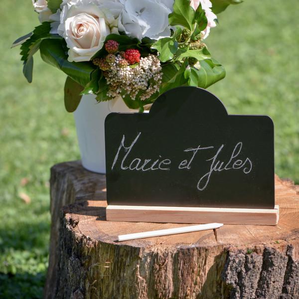 Schwarze Tisch Tafel aus Holz mit Aufsteller