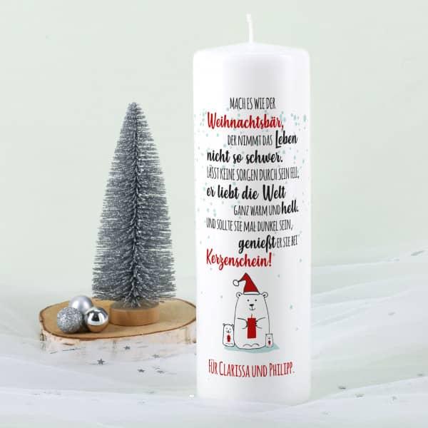 Lustige Weihnachtskerze mit Gedicht vom Weihnachtsbär und Wunschtext