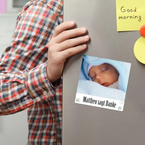 Dankesmagnete zur Geburt 10er Set mit Foto und Name