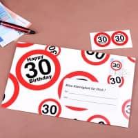 Umschlag für ein Geldgeschenk zum 30. Geburtstag