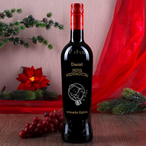 Weinflasche mit Gravur zu Weihnachten mit gold und silber veredelt