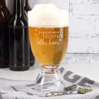 Bierglas mit integriertem Schnapsglas für Supermänner