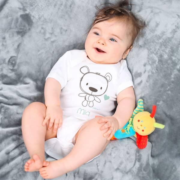 Babybody mit Teddybär und Wunschname