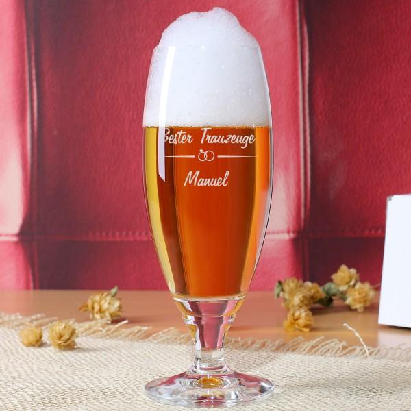 Pilsglas für den besten Trauzeugen mit Namensgravur