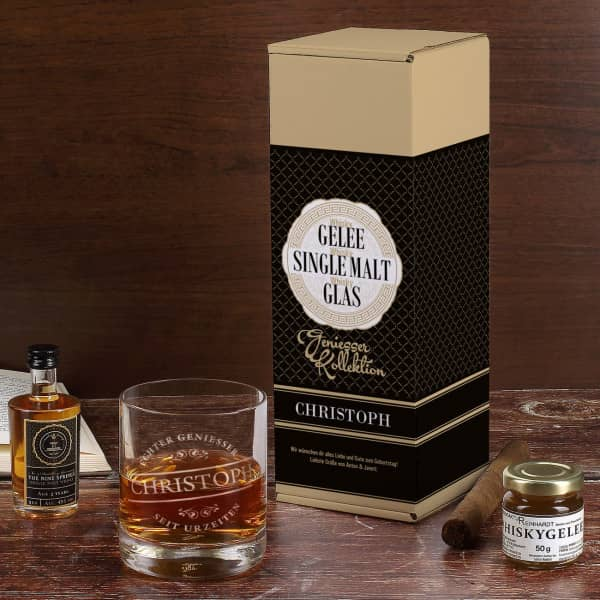 Whisky Geniesser-Kollektion mit The Nine Springs Single Malt und Whiskygelee in bedruckter Geschenkverpackung