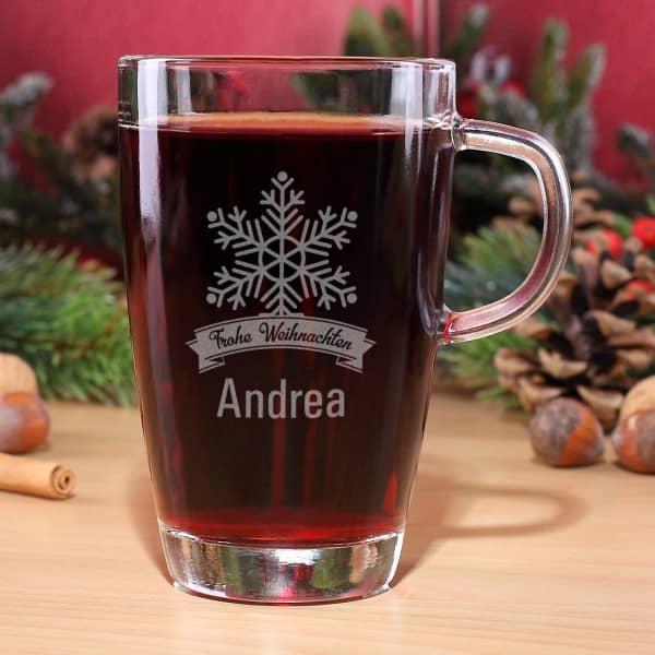 Glühweinglas Frohe Weihnachten mit Name und Schneekristall