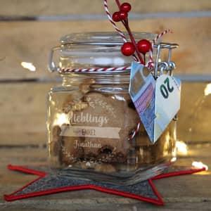 Graviertes Vorratsglas für Geldgeschenke zu Weihnachten