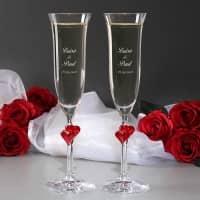 2 gravierte Sektgläser L'Amour mit roten Herzen zur Hochzeit