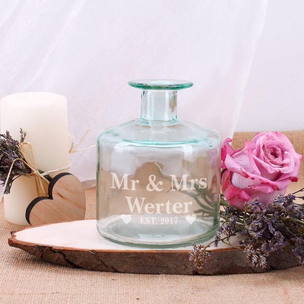 Vase Mr und Mrs mit persönlicher Gravur