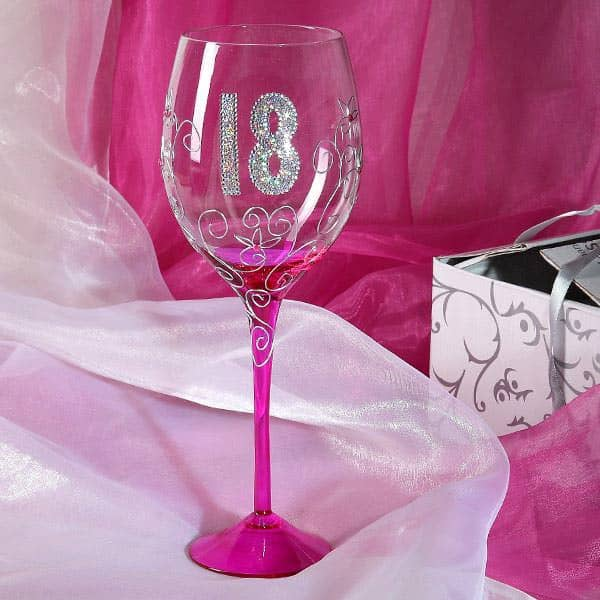 wein glas zum 18 geburtstag in pink. Black Bedroom Furniture Sets. Home Design Ideas