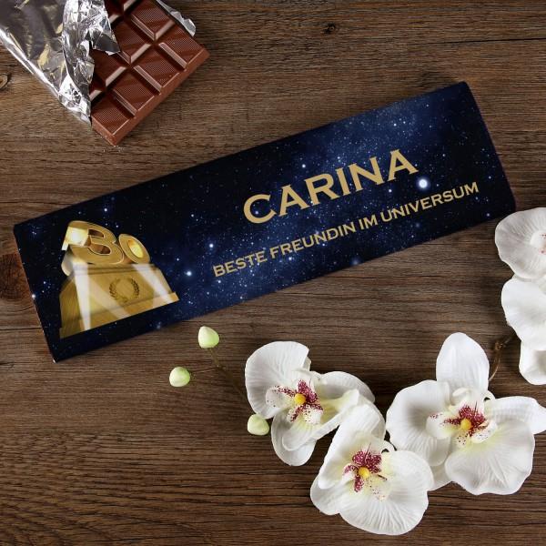 300g Schokolade zum 30. Geburtstag mit Text und Name