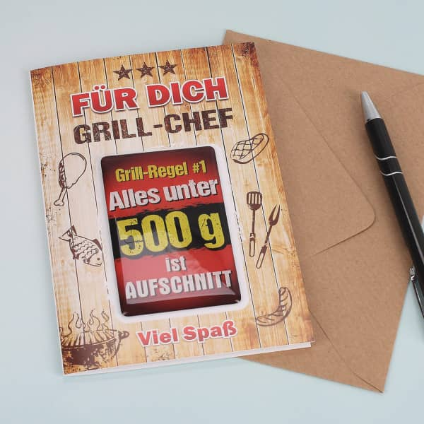 Grußkarte mit Magnet Grill-Chef