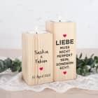Liebe muss echt sein - Teelichthalter aus Holz mit Namen und Datum bedruckt