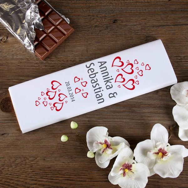 300g Milchschokolade mit Namen und Datum