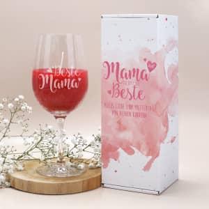 Muttertagsgeschenk - Duftkerze im Weinglas und Geschenkverpackung
