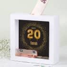 Happy 20 - Bilderrahmen-Spardose zum Geburtstag mit Name, 15x15cm