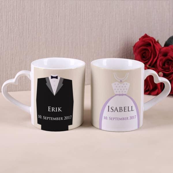 Hochzeitstassen für Braut und Bräutigam