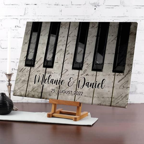 Piano - Leinwand mit zwei Zeilen Text 60x40cm