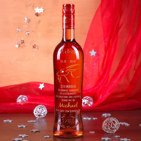 Weinflasche mit Sternzeichen Steinbock in silber und gold