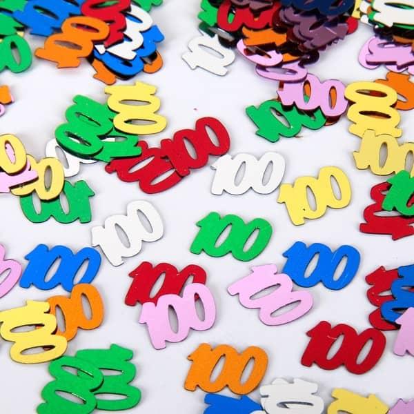 Konfetti mit der Zahl 100