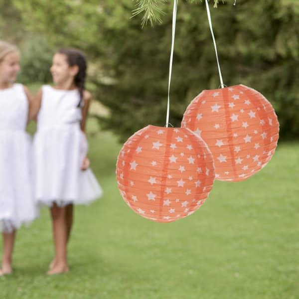 2er Set Deko Laternen 20 cm in Orange mit weißen Sternen