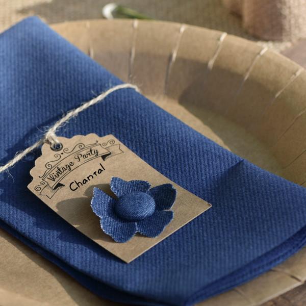 4 Deko Blüten zum Aufkleben im blauen Jeans Look