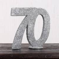 Silberne Dekozahl 70 zum Geburtstag für Tischdekoration