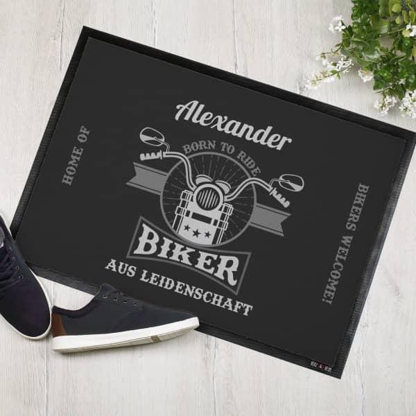 Biker aus Leidenschaft - Fußmatte mit Name