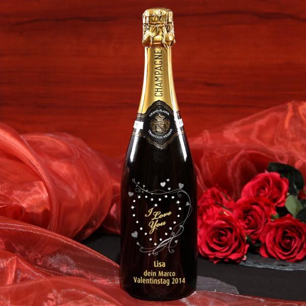 Champagner für Verliebte mit Swarovski Steine