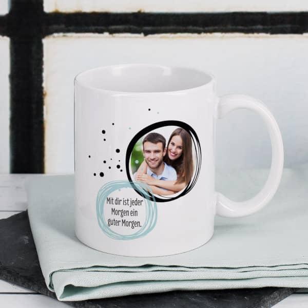 Weiße Keramiktasse mit Ihrem Foto und Wunschtext