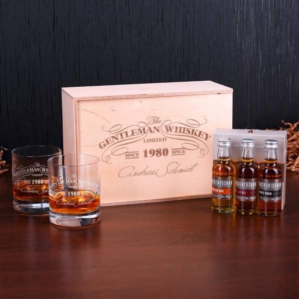 Whisky-Set mit Whiskygläser, Auchentoshan Whisky, gravierte Holz-Kiste
