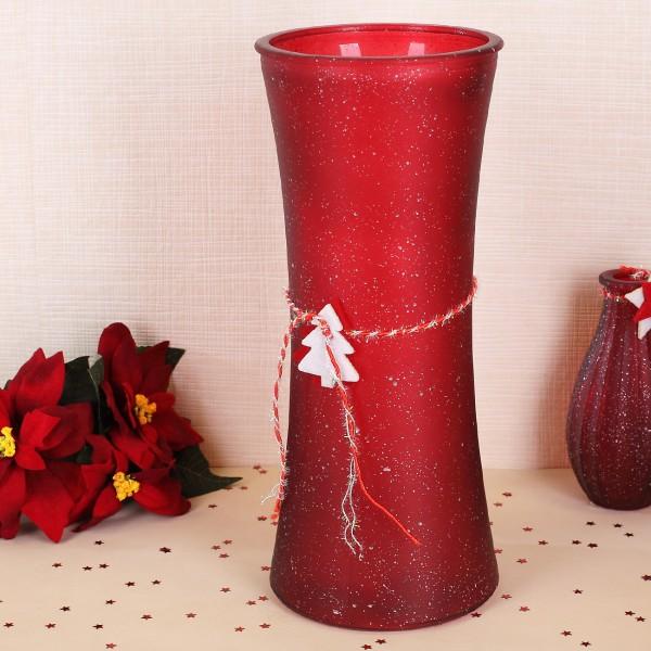 Große weihnachtliche Vase in Rot