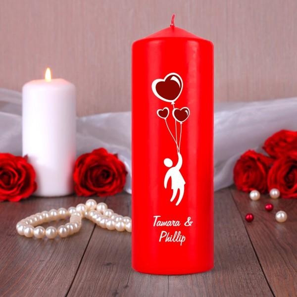Rote Kerze mit persönlichem Aufdruck zum Valentinstag