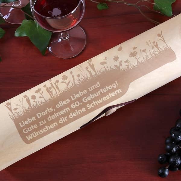 Flaschenverpackung Holzrolle Blumen mit Wunschtext