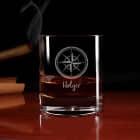 Graviertes Whiskyglas -Kompass- mit Namen