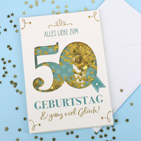 50 Geburtstag Karte.Konfetti Schüttel Geburtstagkarte Alles Gute Zum 50