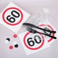 Papier-Servietten mit 60er Verkehrszeichen