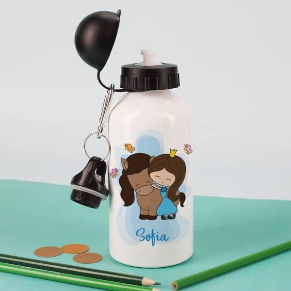 Trinkflasche mit kleiner Prinzessin und niedlichem Pony