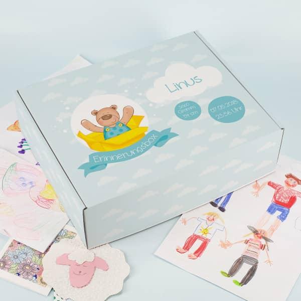 Erinnerungsbox für Jungs mit Geburtsdaten