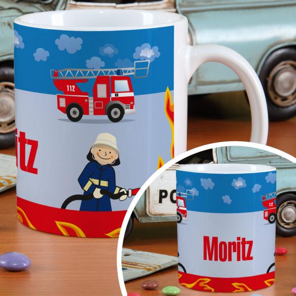 Feuerwehr - Tasse mit Ihrem Wunschnamen versehen
