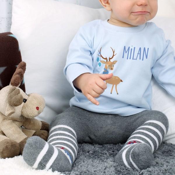 Winterlich bedruckter Babypullover mit Ihrem Namen