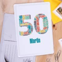 Blechpostkarte zum 50. Geburtstag personalisiert mit Name