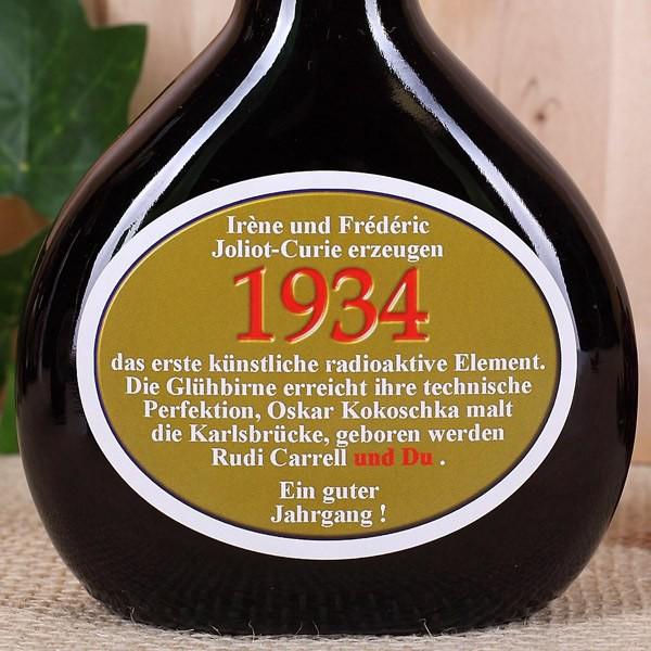 Geburtstagswein 1934 im Bocksbeutel
