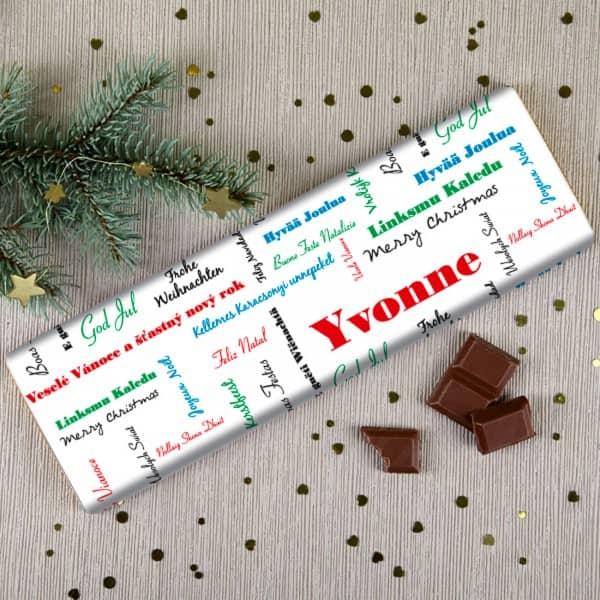 Schokolade -Frohe Weihnachten- mit Wunschnamen