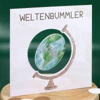 Drehbarer Globus - Karte für Weltenbummler mit Name und Wunschtext