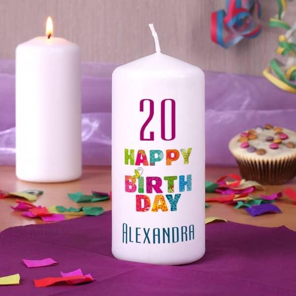 Dekorative Kerze zum Geburstag mit Name und Alter