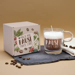 Cappuccino-Duftkerze im Glas und Geschenkbox