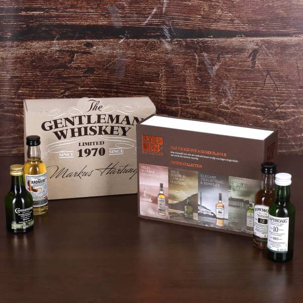 Whisky-Kollektion aus 4 weltbekannten torfigen Single Malts in Geschenkverpackung mit Wunschname und Geburtsjahr